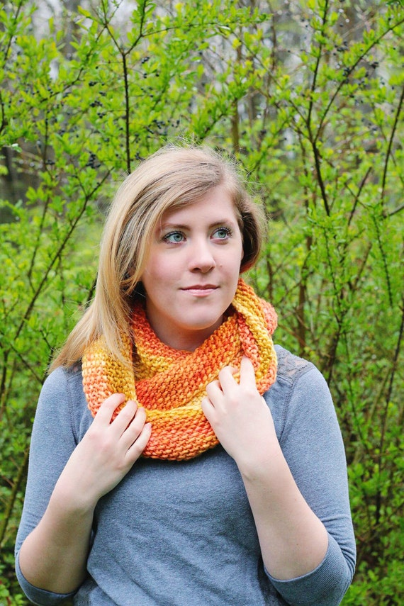 Knit cowl, knit scarf, orange cowl, orange scarf, Chunky cowl, chunky scarf, Wool and silk blend.
