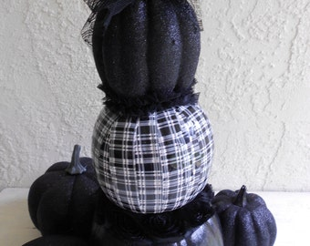Black Pumpkin, Plaid Pumpkin, Pumpkin Topiary, Altered Pumpkin, Glitter Pumpkin, Halloween Pumpkin