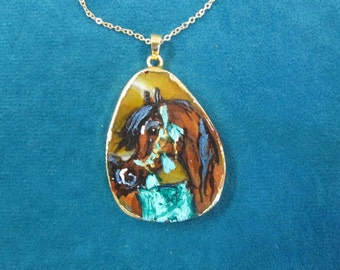 Gem stone Quartz amber color with bay horsehand painted