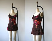 vintage 1960s bathing suit / 60s brown floral one piece swim suit / sirena swimsuit / 60s skirted swim wear / size medium large