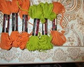 Persian Type needlepoint, crewel , plastic canvas yarn red heart sage green , rust  color 100 %Creslan Acrylic 6 pieces