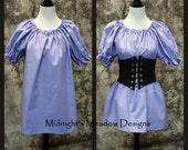 Chemise Blouse in Lavender - Short Sleeved, Size SMALL, Renaissance, Steampunk Pirate, Wench or Peasant Costume, Halloween, SCA, LARP
