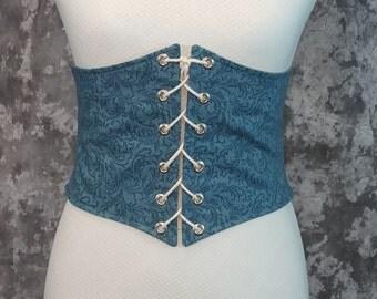 Renaissance Costume, Waist Cincher, Ocean Blue Leaf, Paisley, Faerie Belt, Pirate Waist Belt, Corset, Steampunk, SCA LARP