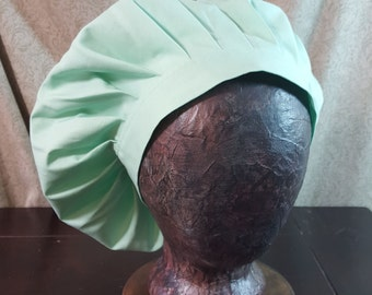 Medieval Caul, Light Mint Green Muffin Cap Hat, Renaissance Costume, Floppy Hat, Mob Cap, SCA LARP, Peasant Garb, Head Covering
