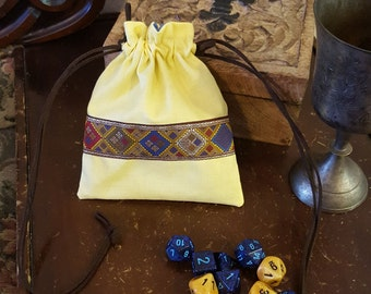 Renaissance Coin Purse in Yellow and Cornflower Blue, Game Dice Bag, Jewelery Pouch, Regency Reticule, SCA, LARP, Medieval, Embroidered Trim