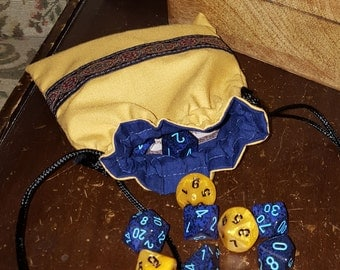 Renaissance Coin Purse in Gold and Navy Blue, Game Dice Bag, Jewelery Pouch, Regency Reticule, SCA, LARP, Medieval, Embroidered Trim