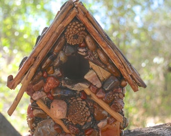 Mosaic Rustic Outdoor Birdhouse, Pinecone Accents, Colorful Jasper and Agate Stones