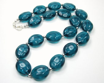Oasis Collection - Teal Beaded Statement Necklace - Single Strand Necklace
