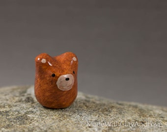 Little Brown Bear - Miniature Polymer Clay Animal Terrarium Figurine - Hand Sculpted