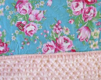 Minky Baby Blanket Nursery Stroller Gorgeous Roses on Blue  fabrics Pink  gift Jennifer Paganelli Fabrics
