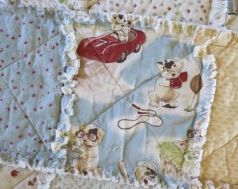 SALE Baby Toddler Lovey Stroller Rag Quilt Vintage Babies Cotton Nursery Gift  Dog Monkey   animals blue yellow Cream