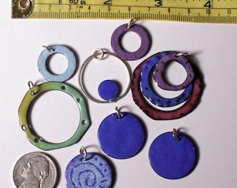 Jewelry Supplies - Enamel Copper - Enamel Pendants - Enamel Lot - Copper Findings - Enamel Findings - Enamel Jewelry - Loose Beads - Supply