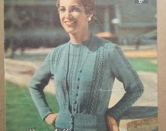 Vintage 1940s 1950s Knitting Pattern Women's Twin Set Sweater Jumper Cardigan 40s 50s original colour pattern Lavenda No. 334 UK lacy design