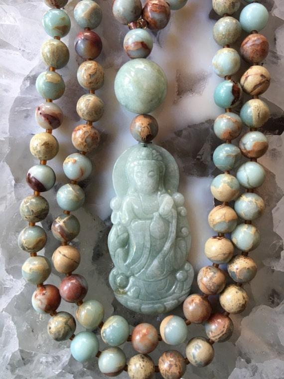 Aqua Terra Jasper and Jade Mala/Prayer Beads