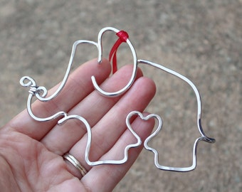 Silver. Aluminum. Elephant. Heart. Pendant. Ornament.
