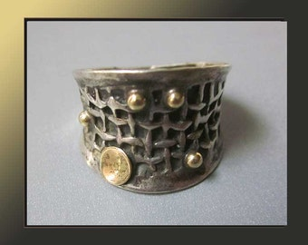 Golden ORBs,Modernist Sterling Silver Ring With Woven Design and Gold Accents,Brutalist Surface,Vintage Jewelry,Women
