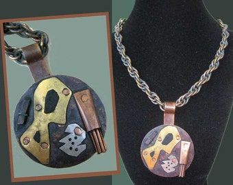 OUTSIDER Artist Surreal Mixed Metal Pendant,Cut/Riveted/Hammered,On Heavy Coiled Copper Chain,Vintage Jewelry,Unisex