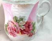 Antique Shaving Mug - Pink Roses Floral Spray - Gift for Dad - Father's Day - Victorian Decor Elegance for Men Vintage Shaving