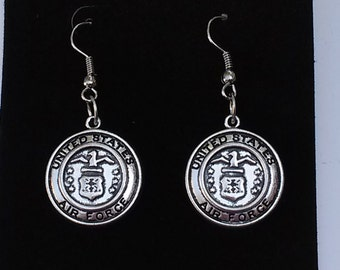 Dangly Earrings Silver plated Air Force vintage Metal Pendant charm military