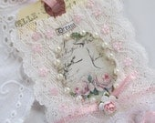 Rose Lace Tag, Mixed Media Art Tag, French Gift Tag Shabby Tag