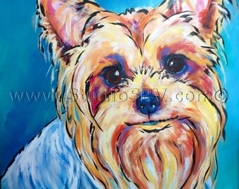 16x16 Original YORKIE painting