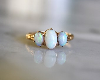 ANTIQUE VICTORIAN OPAL trinity trilogy 14k rosy gold engagement vintage ring size 5.75 circa 1870