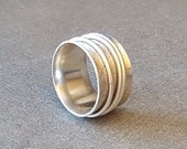 Spinner Ring Size 8.25, Sterling Silver, Organic Leaf Textured Band, Ready to Ship, One of a Kind