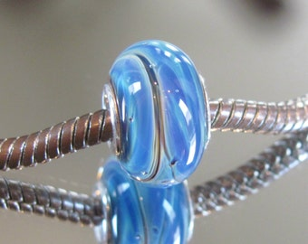 "Tangled Sky Glass ""Stratus"" #2 Fully Sterling Silver Lined Lampwork Charm Bead BHB"