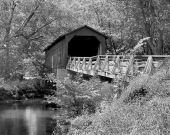 Sugar Creek Covered Bridge-8x10-B&W Fine Art Photo-Certificate of Authenticity-Signed by Artist