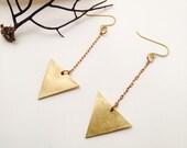 Minimalist Brass Arrow Drop Earrings - Triangle Brass Earrings -Brass Jewelry - Minimalist Jewelry - Brass Chandelier Earrings - Geometric