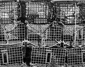 Lobster Cages, Fine Art Photography, Beach Photograph, Wall Decor, Still Life Photo, Ocean Print, New England, Coastline, Black, White, Grey