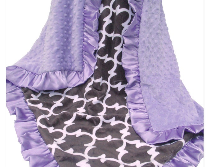 Quatrefoil Lavender and Gray Minky Dot Baby Blanket, Lavender Minky Baby Blanket,  Can Be Personalized