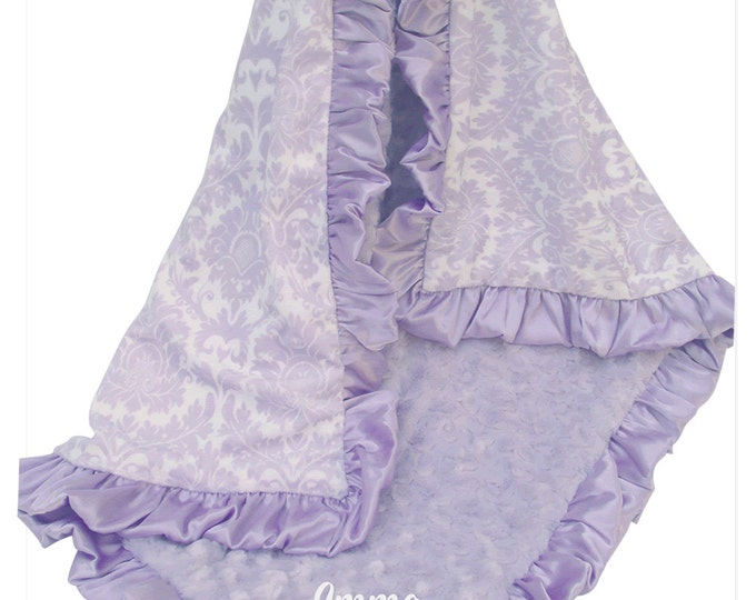 Light Purple Lavender Damask Minky Baby Blanket for Baby Girls, Minky Baby Blanket Can Be Personalized