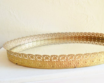 Very Large Oval Gold Metal Filigree Framed Mirror Vanity Tray - Excellent Condition