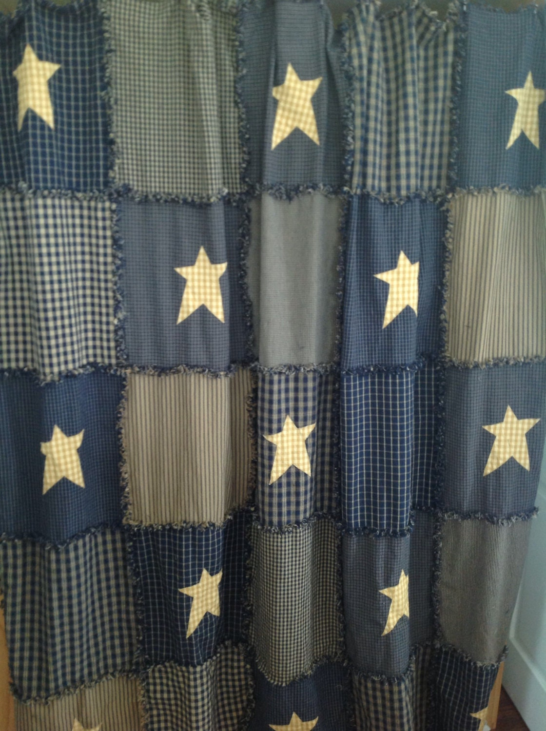 Navy Blue Raggy Shower Curtain