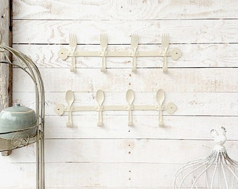 Spoon and Fork Wall Hook, Metal Kitchen Decor, Retro Kitchen, Creamy White Decor, Metal Wall Decor