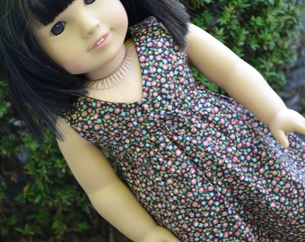 18 inch Doll Clothes - Autumn Floral Salina Dress - BLACK ORANGE BLUE - fits American Girl