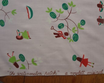 PRICE REDUCED Vintage 1940s Rayon Novelty Print Fabric, Watermelon Patch by Cohama