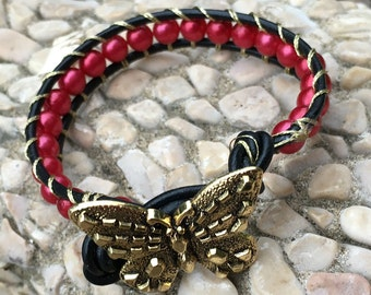 Single Wrap Bracelet, Beaded Leather Bracelet Artisan Boho cuff red beads, Beaded wrap bracelet