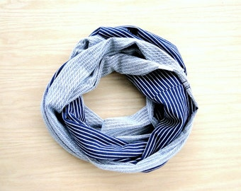 Chunky infinity scarf, Heavy denim french terry wrap scarf, stripy indigo scarf