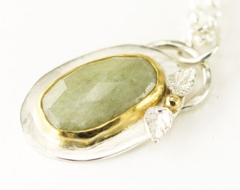 Green Sapphire Necklace - 22k Gold on Sterling - Rose Cut Sapphire Pendant