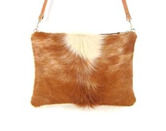 Hair on Hide Handbag ~ Brown Cowhide ~ Leather Cross Body Bag ~ Brown Leather Handbag ~ Calf Hair Clutch ~ Modern Rustic ~ Shoulder Bag