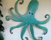Large Teal Blue Metal Wall Art Octopus Custom Sculpture Ocean Wall Decor Beach House Wall Art 30 x 30 Whimsical Wall Hanging Recycled Metal