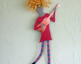 Metal art music wall decor - Guitar Lady - reclaimed metal wall sculpture  - 9 x 21 blue rose red