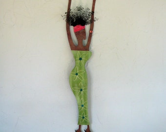 Metal Wall Sculpture African Art Recycled Metal Wall Hanging Lime Green Caribbean Art 5 x 25