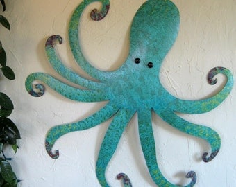 Large Metal Wall Art Octopus Teal Blue Custom Sculpture Ocean Wall Decor Beach House Wall Art 30 x 30 Whimsical Wall Hanging Recycled Metal