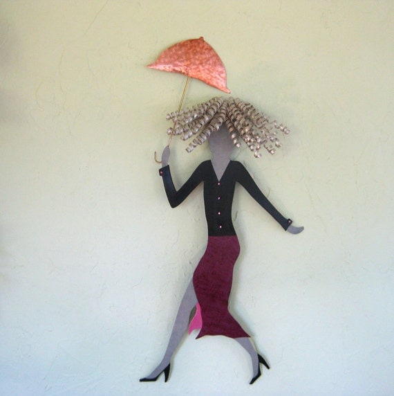 Metal Umbrella Wall Decor : Metal wall art sculpture umbrella lady high fashion burgundy