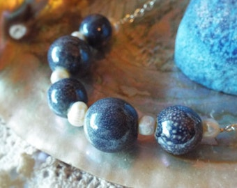 Pearl Bead Necklace Blue Speckled Pottery Beads on Bright Silver Chain