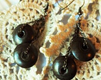 Dark Wood Earrings Double Wooden Disks Silver Copper Gold Chain