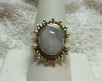 Beautiful Rainbow Moonstone and Silver Ring, Size 9
